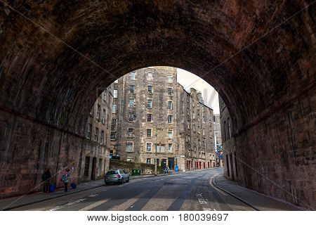 Tunnel Of The Regents Bridge In Edinburgh, Uk
