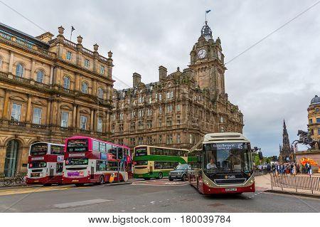 Street Scene On Princes Street In Edinburgh