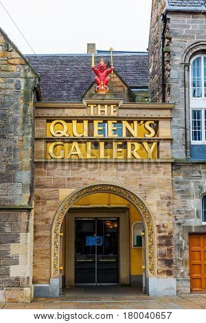 Entrance Of The Queens Gallery In Edinburgh, Uk