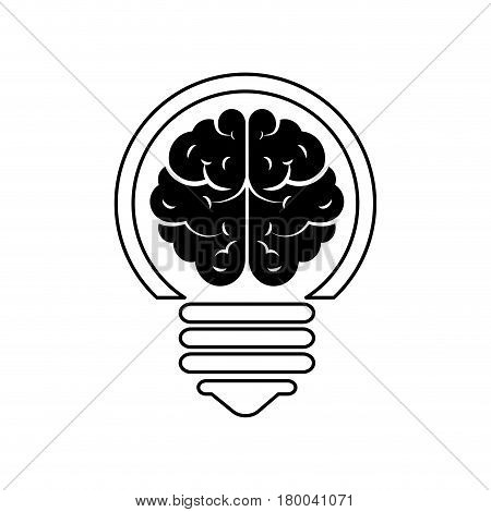 bulb light with brain vector illustration design