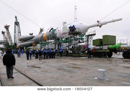 Soyuz Spacecraft At Launch Pad