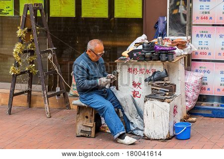 Traditional Shoemaker In Hong Kong