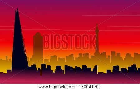 Silhouette of London city with red background scenery illustration