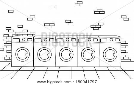 A row of washing machines in a public laundry on a brick wall background. Black and white sketches launderette vector illustration.