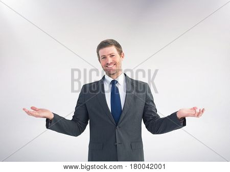 Digital composite of Man choosing or deciding with open palm hands