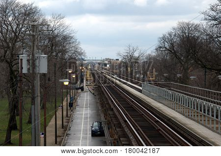 Green Line Chicago Transit Elevated Train Tracks running straight to the horizon