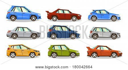 Set of cars. Collection vehicle. Sedan, hatchback, roadster, SUV. The image of toy machines. Isolated objects on a white background. Vector illustration. Flat style