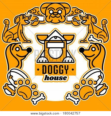 Vector illustration on the theme of dogs. Logo, isolated elements. Collar, dog's head, a trace of foot, for a bowl of food. Flat style, line art