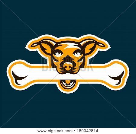 Logo dog holding bone in his teeth. Pet, pedigreed dog. Vector illustration.