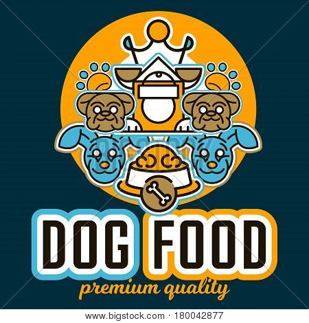 Vector illustration on the theme of food for dogs. Images of animals faces, different breeds of dogs, kennel, trace of legs, crown. Flat style, line art.
