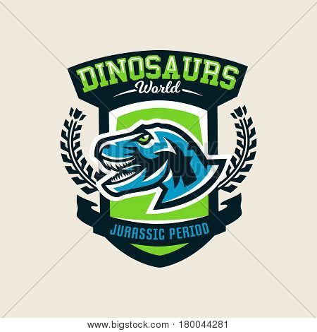 Colourful emblem, logo, label the dinosaur of the Jurassic period of the Mesozoic era is isolated on a background of the shield. Vector illustration.