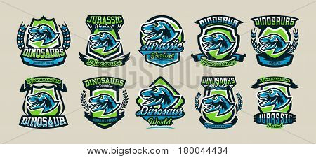 Set of colorful logos, emblems, labels the world of the dinosaurs of the Jurassic period of the Mesozoic era is isolated on a background of the shield. Collection for printing on T-shirts