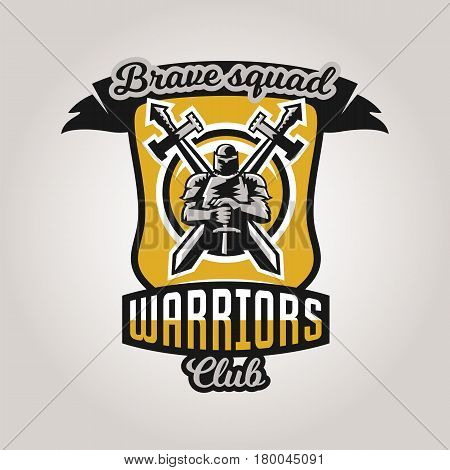 Colorful logo, emblem, a knight on a background of two cross swords. The theme knights, barbarians, warriors, swordsmen, kingdoms. Vector illustration