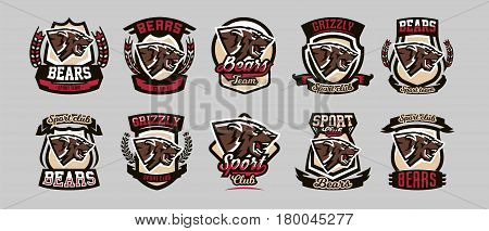 Set of colorful emblems, logos, snarling and ready to attack bear, grizzly, dangerous predator, the dweller forest. Vector illustration, dynamic and sporty style, printing on T-shirts