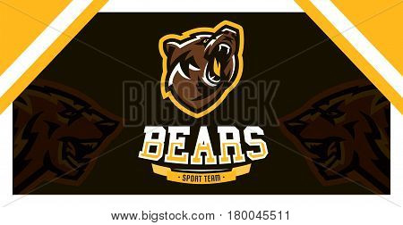 Logo, identity, the font for the sports club, community, company, angry and growling, bear ready to attack. Vector illustration, dynamic execution