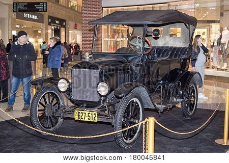 Moscow, Russia - April 02, 2017: Ford Model T, Usa, 1924. Retro Car Exibition In Shopping Mall Metro