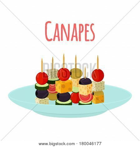 Canapes, tapas on plate, dish. Cartoon flat style. Buffet, restaurant food, appetizer, snack.