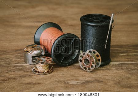Set reel of thread for sewing and needlework old reel of thread (vintage filter).