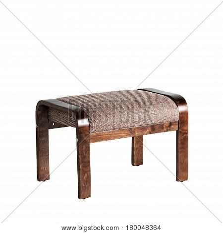 Soft ottoman with wooden legs isolated on white background