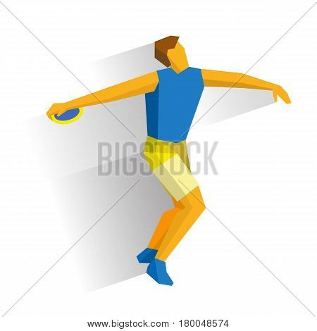 Athlete throwing the discus isolated on white background with shadows. International sport games infographic.  Discus Throw - flat style vector clip art.