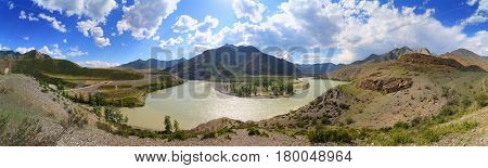 The confluence of Chuya and Katun Rivers in the Altai Mountains, panorama
