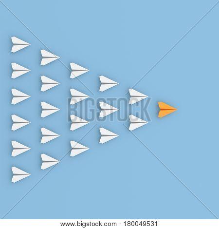 Leadership concept orange leader plane leading whites. 3D rendering