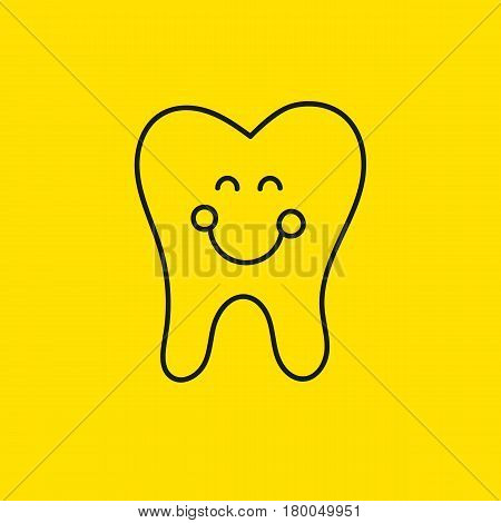 Happy smiling line tooth molar on yellow background. Icon dental clinic. Logo dentist. Vector illustration.