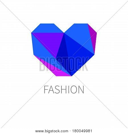 Jewel in shape of polygon of blue hearts. Logo for fashion blogger blog about style. Icon accessories store. Trend vector illustration