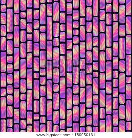 Seamless Pattern of Bright Vertical Holographic Rectangles. Creative Geometric Background Continued Design.