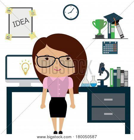 Woman Scientist Or Office Worker In Office,