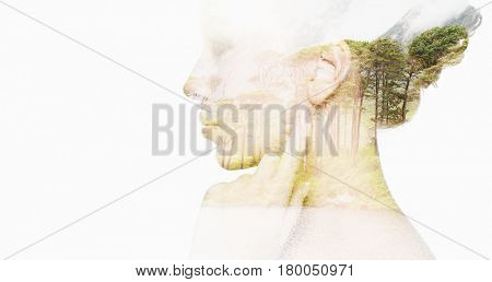 people, nature and beauty concept - beautiful young woman face with natural double exposure effect over white background