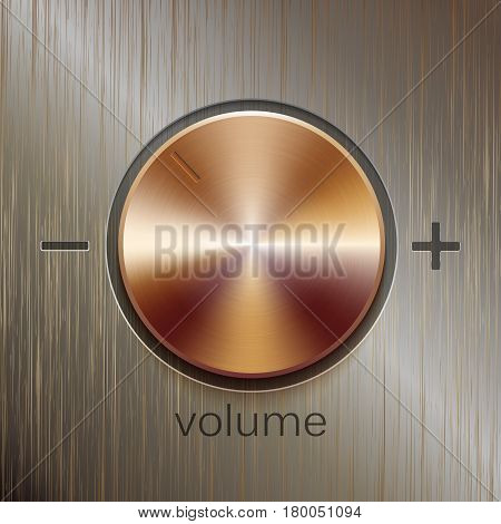 Volume sound control with bronze brushed texture and level scale with plus and minus isolated on bronze texture background