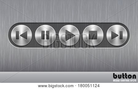 Set of round metal button with brushed texture and speaker illustrations for increase, mute or decrease sound isolated on a dark recess in background with metal brushed texture
