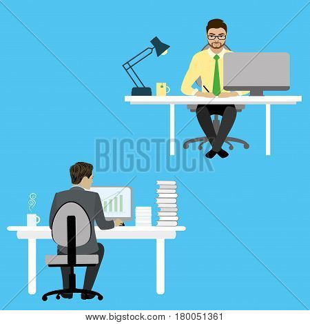 Two Businessman or office worker sitting at a desk and working on the computer. Workplace coworking.Cartoon stock vector illustration.
