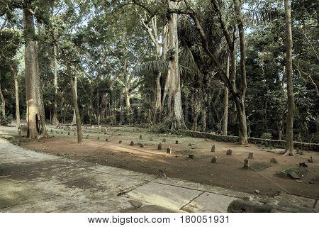 Ubud, indonesia - 10 February 2013: Cemetery at Sacred Monkey Forest Sanctuary on Ubud, Bali