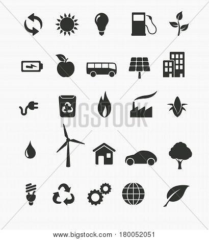 Vector illustration of renewable energy icon set