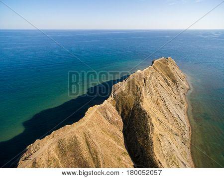 Late summer aerial landscape in Crimea mountains near Chameleon peninsula