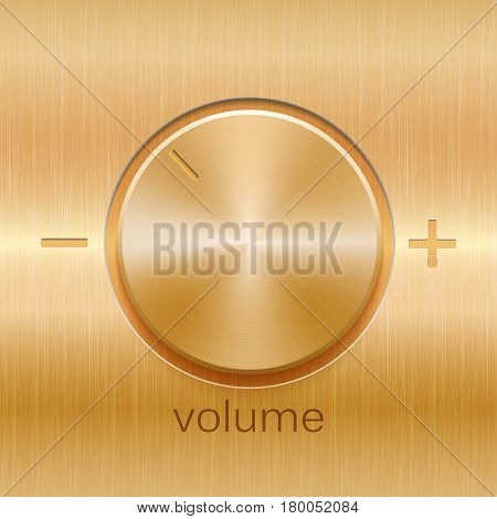 Volume sound control with golden brushed texture and level scale with plus and minus isolated on golden texture background