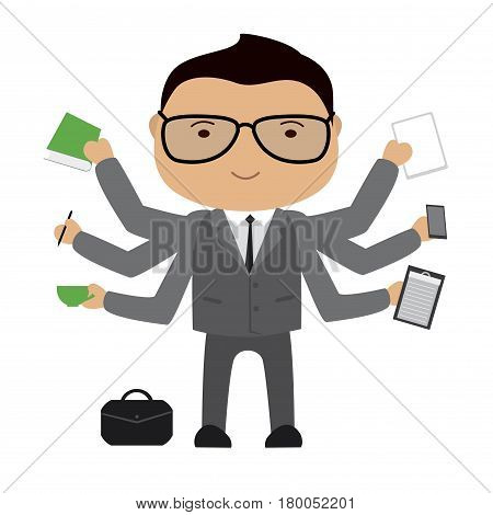 Multitasking  Businessman or office worker .Business man shiva with different objects , vector illustration isolated on white background