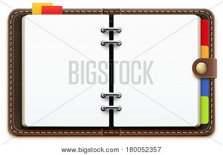 Vector illustration of realistic overhead view of a leather personal organizer/planner