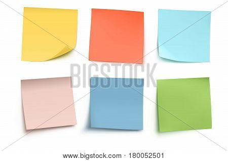 Vector illustration of multicolor post it notes isolated on white background.
