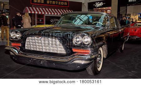 Moscow, Russia - April 02, 2017: Chrysler 300C, Usa, 1957. Retro Car Exibition In Shopping Mall Metr
