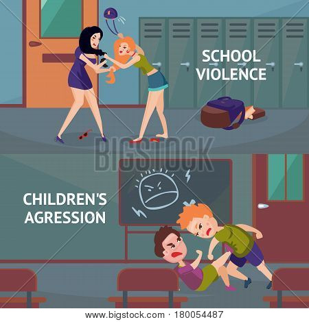School conflicts horizontal banners with aggressions quarrels disagreements and fights between children vector illustration