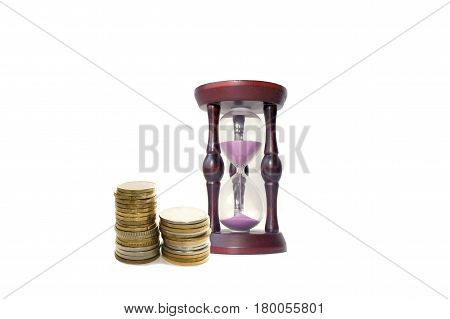Hourglass with purple sand and two stacks of coins on white background. Concept on the topic of Finance and time.