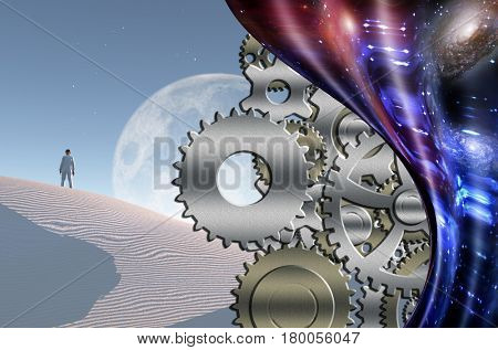 Surreal white desert. Big moon at the horizon. Man in white suit and bowler stands on a sand dune. Gears. Warped space.  Some elements provided courtesy of NASA  3D Rendering