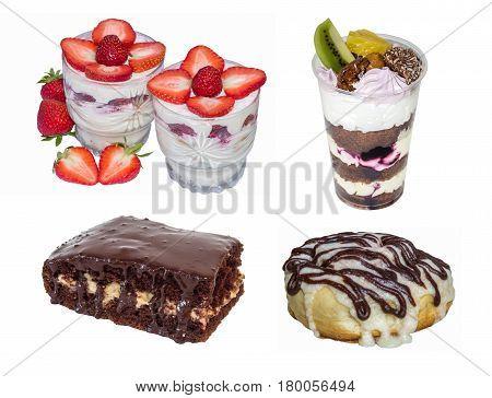set cake: trifle cheesecake dessert chocolate cake cinnamon roll isolated on white background