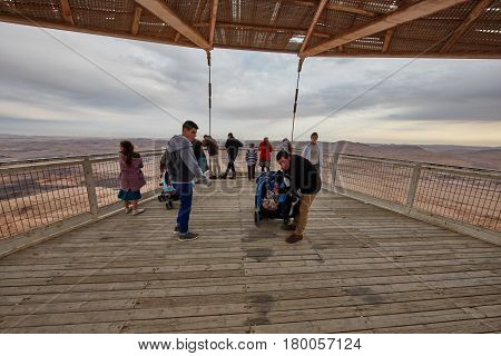 Mitzpe Ramon, 02 December 2016: Group Of Visitors Take Pictures Of Mountain View