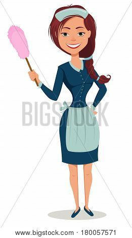 Cute smiling girl dressed in classic French maid clothes holding dust brush. Cheerful cartoon character. Cleaning service advertisement. Vector illustration.
