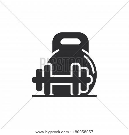 weight and barbell icon vector solid flat sign pictogram isolated on white logo illustration
