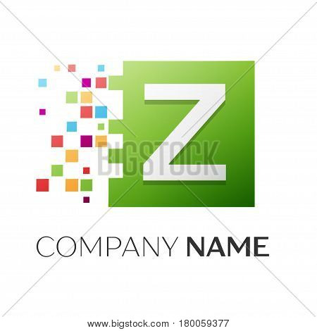 Letter Z vector logo symbol in the colorful square with shattered blocks on white background. Vector template for your design